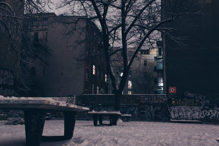 Winter Night. Architecture Berlin Berlin Photography Berliner Ansichten Built Structure Cold Cold Temperature Graffiti Long Long Exposure Nature Night No People Outdoors Pingpong Prenzlauerberg Sky Snow Streetart Table Tabletennis Tree Wall Winter Wintertime