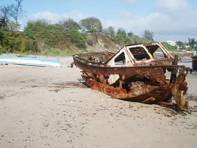 Nautical Vessel Beach Destruction Outdoors Seen Better Days Rusted Boat EyeEmNewHere Mozambique