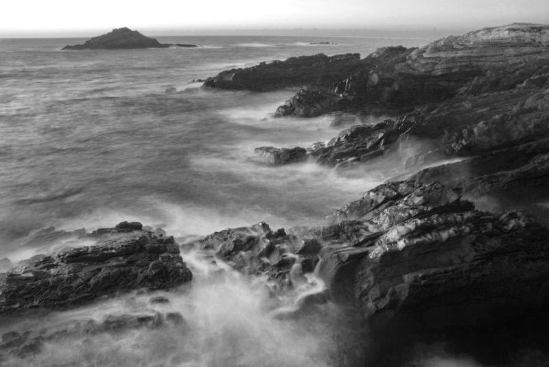 Beauty In Nature Blackandwhite Coastline Horizon Over Water Landscape Landscapes With WhiteWall Long Exposure Monochrome Rock Formation Scenics Sea Silk Effect The KIOMI Collection Tranquil Scene Tranquility Water Showcase April The Great Outdoors With Adobe Fine Art Photography Monochrome Photography
