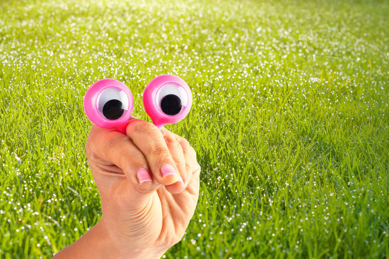Cropped hand of woman holding googly eyes toy over field