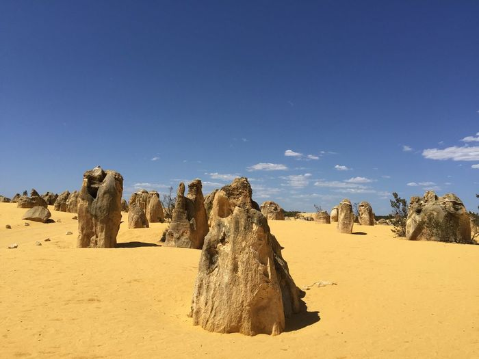 Panoramic view of rocks on arid landscape against sky