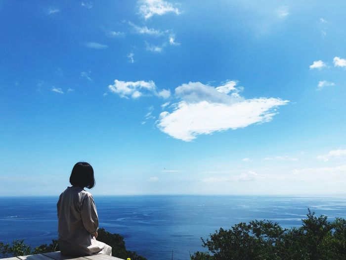 Sky Sea Water Horizon Over Water One Person Horizon Beauty In Nature Nature Lifestyles Blue