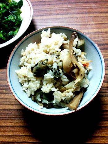 牡蠣と本シメジの炊き込みご飯。全部天然物。 Oyster  Dinner Rice Cooked Shimeji