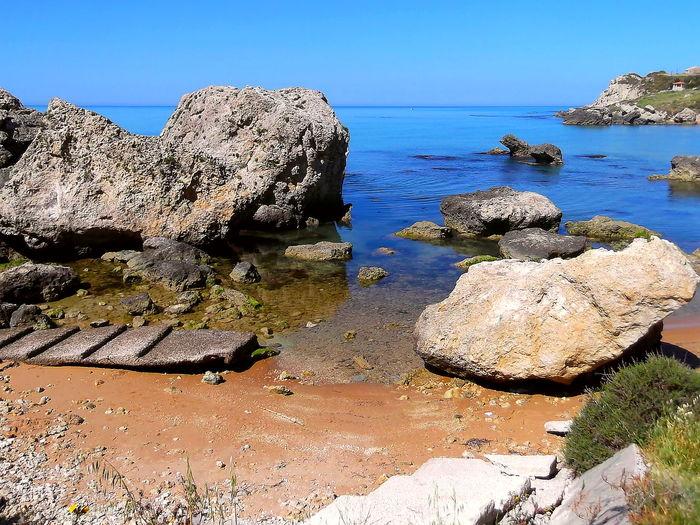 Acqua Limpida Beach Beauty In Nature Cielo Azzurro Estate Horizon Over Water Licata Mare Massi Natura Nature No People Orizzonte Outdoors Rocce Rock - Object Scenics Sea Sicilia Spiaggia Sunlight Tranquility Water