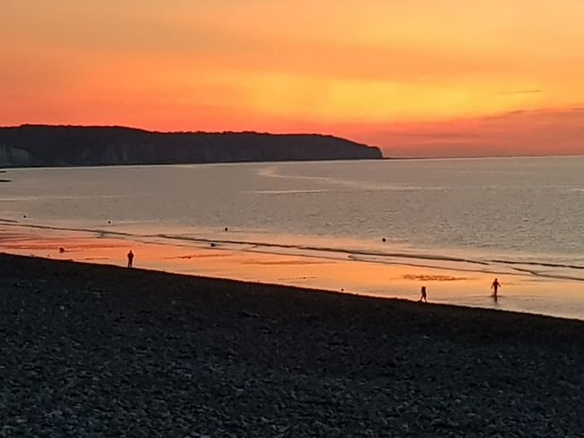 Sunset Beach Sand Sea Landscape Sun Vacations Beauty In Nature Tranquility Tranquil Scene Orange Color Dieppe Normandie Outdoors