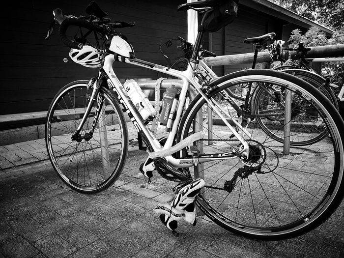 After cycling Eyemphotography Eyem Best Shots Cycling Bycicle Bicycle Land Vehicle Stationary Close-up Bicycle Rack Bicycle Basket Wheel Parking Pedal Locked Parking Lot