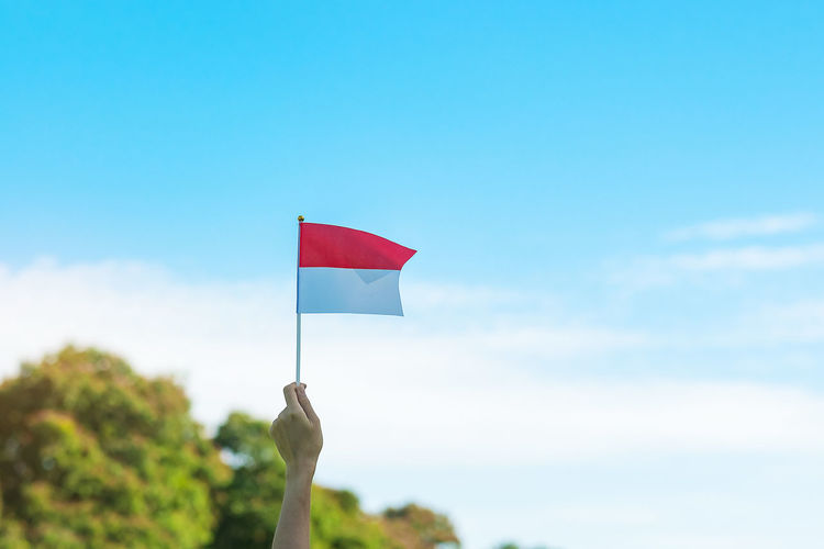 Low angle view of hand holding red flag against sky