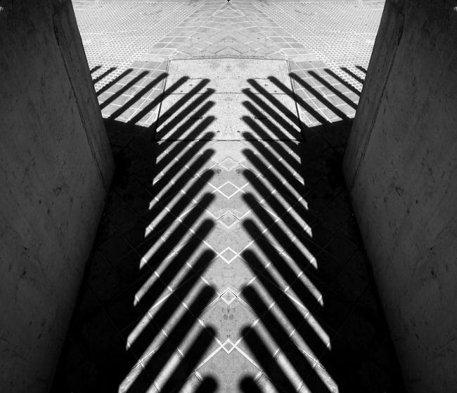 Stripes Architecture Black And White Blackandwhite Building Built Structure Ceiling Close-up Day Directly Above High Angle View Indoors  Metal Monochrome Nature No People Pattern Railing Shadow Steps And Staircases Sunlight Wall - Building Feature