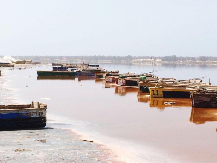 Afrique Water Reflection Lac Rose Pink Lake Senegal Africa Salt Sel Barques Bateaux Boat Harbor