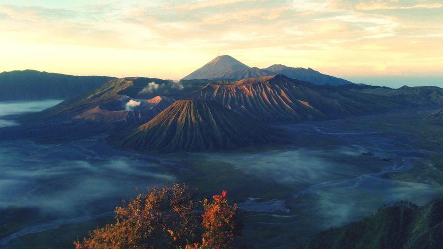 Idyllic Shot Of Smoke In Bromo Crater Against Sky