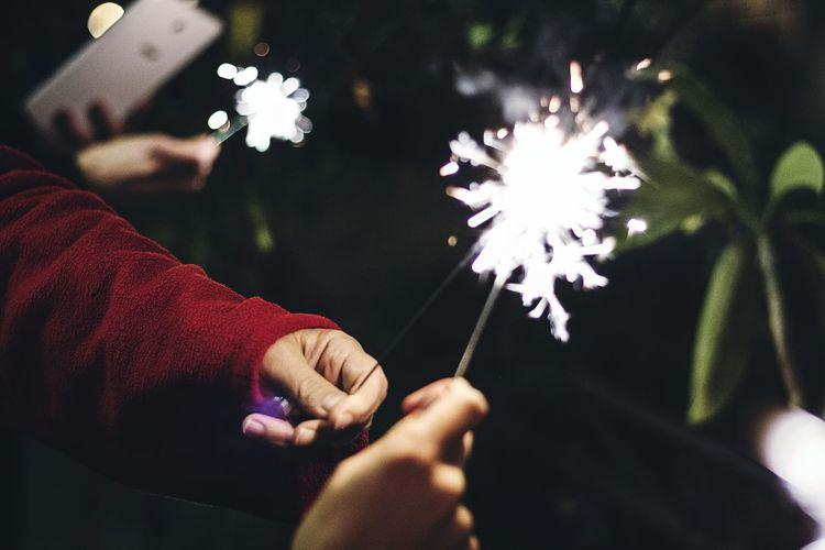 Clash Sparks Torches Night Garden Happynewyear Light Meeting Hands Love