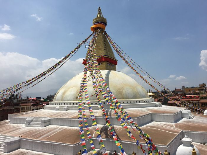 Boudnath Nepal Travel Nepal Religion Architecture Spirituality Sky Built Structure Place Of Worship Cloud - Sky Travel Destinations Tourism Building Exterior