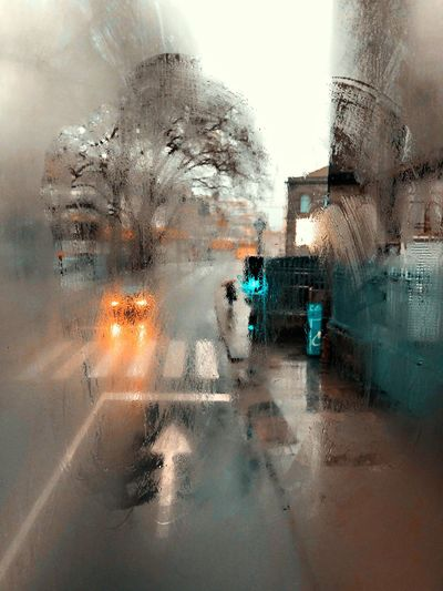 Digital composite image of wet car window