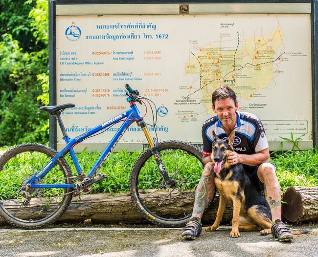 A day of riding with my puppy. Portrait Puppy I Love My Dog Mountainbike German Shepherd Alsatian Thailand Nationalpark Bangkokbikehash