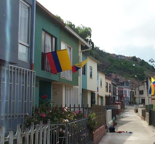 City Colombia Colombian Flag Flags Residential Building Residential District Residential Structure Street Town