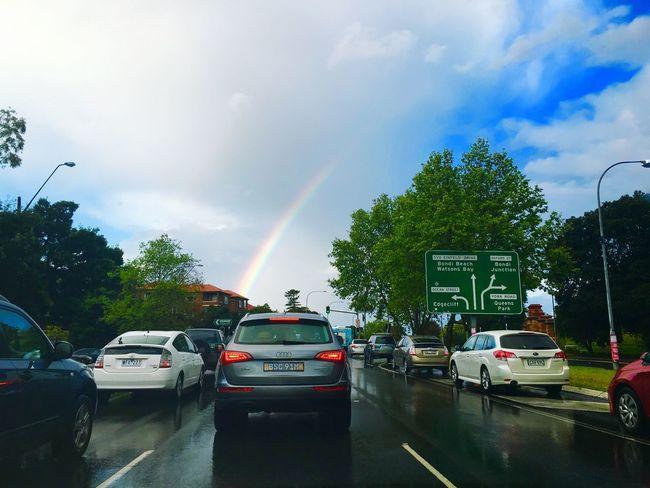 Battle Of The Cities Rainbow over my city. Sydney, Australia Cars Colouds And Sky Rain Springtime Rush Hour