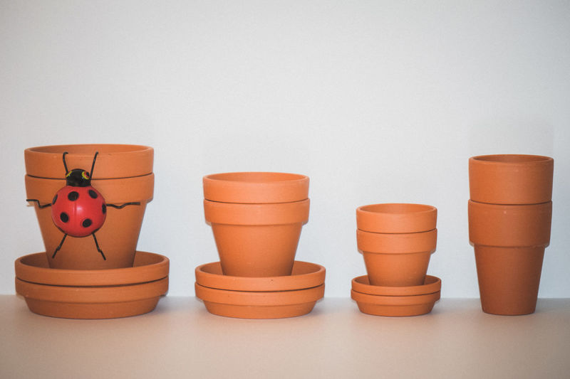 Clay Clay Pots Lady Bug Large Group Of Objects Plant Life Plant Lover Plant Lovers Planter Pot Planter Pots Planters Plants Row Of Things Side By Side Stacked Stacks  Variation White Background