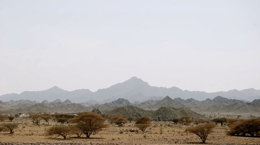 Remote Isolated Empty Desert Deserted Copy Space Clear Sky Mountains Rocky Emptiness Oman Landscape Arid Atmospheric Mood Distant Distance Journey Hike Trek Trekking Survival Background