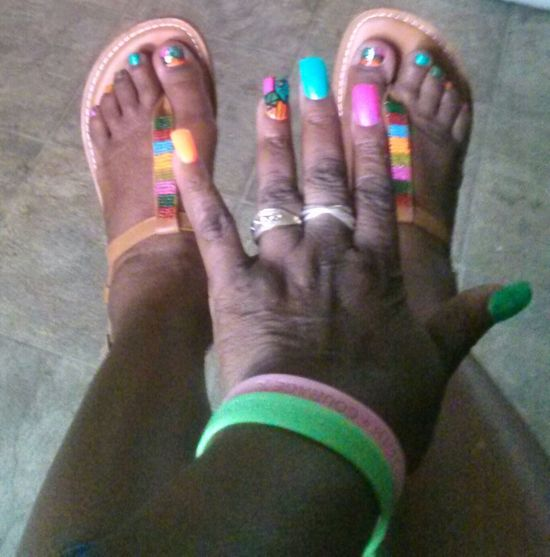 Nails & toes done for July(2013) this shop charged me $43 for fill, pedicure & designs Redskin Mom Who Gave Birth To 6 Raider Nation Fans:-)