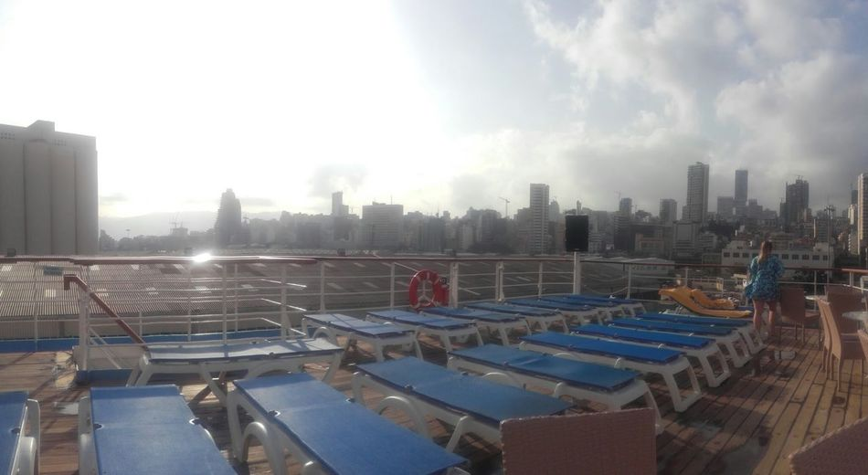 Beruit Empty Sunbeds Enjoying Life Relaxing Taking Photos Enjoying The View Every Picture Tells A Story View From Cruise Ship Let's Go. Together.
