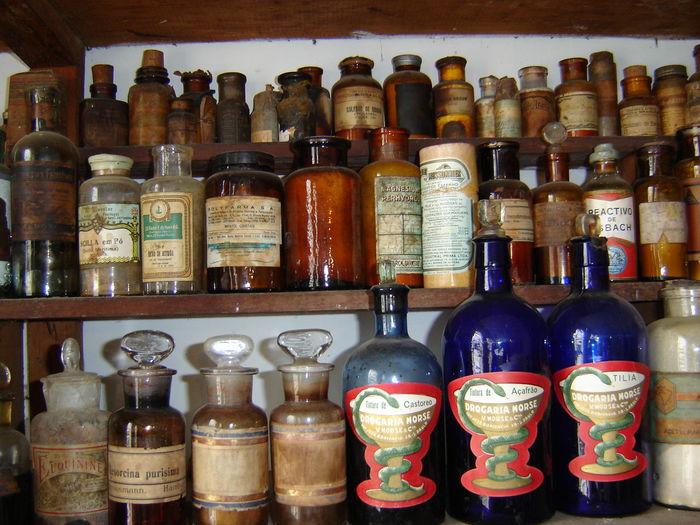 Arrangement Bottle Medicine Multi Colored No People Old Pharmacy Store