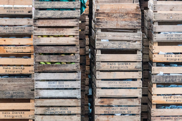 Full Frame Shot Of Wooden Crates Stack