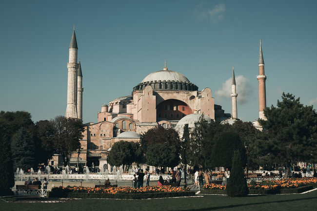 Cityscape Hagia Sophia Historical Building Istanbul Sultanahmet Tourist Tourist Attraction  Turkey World Heritage Architecture Art Built Structure City Clear Sky Day Dome Fatih History Large Group Of People Outdoors Real People Sky Tourism Travel Travel Destinations