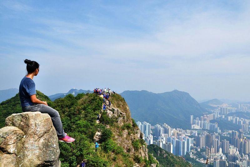 On top Lion Rock Hong Kong Hiking Trail Nature Landscape Kowloon Peak