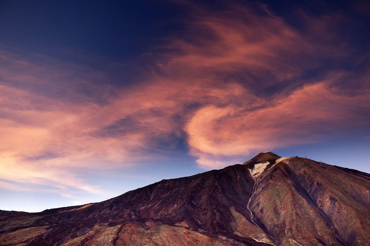 Scenic view of el teide volcano at sunset
