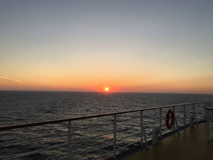 Sunset on the North Sea Aida Cruise Ship Aidasol Clear Sky Horizon Over Water Idyllic Lifebelt No People North Sea Railing Scenics Sea Sky Sun Sunlight Sunset Tranquil Scene Tranquility Water Lost In The Landscape