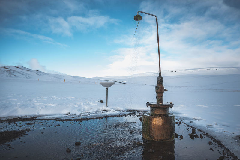 Shower in the Middle of Nowhere Iceland Iceland Memories Krafla Beauty In Nature Cloud - Sky Cold Temperature Day Frozen Geothermal  Hot Water Mountain Nature No People Nowhere Outdoors Scenics - Nature Shower Sky Snow Snowcapped Mountain Tranquil Scene Tranquility Water White Color Winter