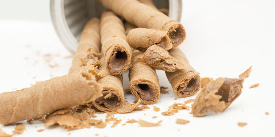 waffer roll Chocolate Diet Roll Waffle Close-up Day Food Food And Drink No People Stick Sweet Food Waffer Waffer Rolls White Background