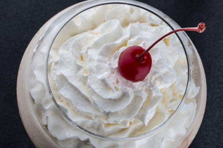 High angle view of dessert on ice cream