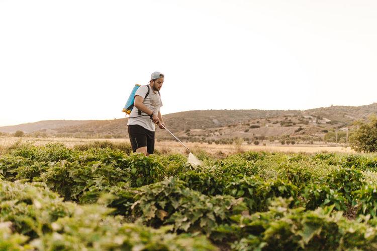 Man spraying pesticides on farm