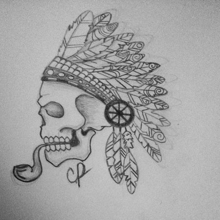 Finished yesterday's sketch SmokingNative Drawing Tattoos