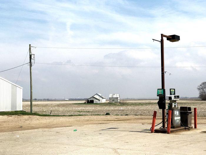 Convenience Nowhere. Gas Station Sky Fuel Pump Day Fuel And Power Generation Cloud - Sky Outdoors No People Road Built Structure Electricity Pylon Oil Pump Prairie Plains Nebraska