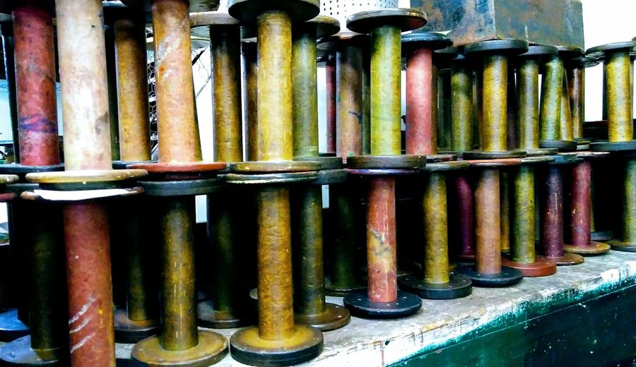 Architectural Column Day Indoors  Close-up Factory No People Spools In A Row