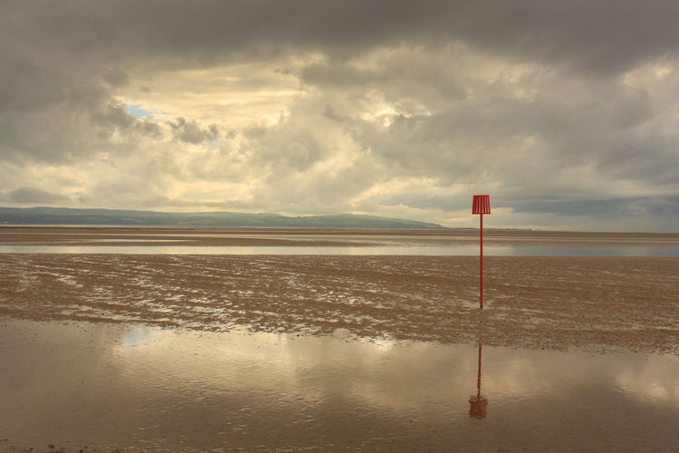 Beach Beauty In Nature Cloud - Sky Day England Horizon Over Water Landscape Metal Post Nature No People Outdoors Red Scenics Sea Sky Tranquil Scene Tranquility Warning Sign Water West Kirby Wirral Peninsula