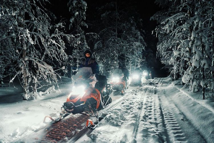 The Street Photographer - 2018 EyeEm Awards The Great Outdoors - 2018 EyeEm Awards The Traveler - 2018 EyeEm Awards Snow Remote Places Winterscapes Wintersport Wintertime Eye4photography  EyeEm Best Shots EyeEm Nature Lover Outdoors Finnland Lappland Snowmobile Winter Winterwonderland Action Outdoor Activity Street Night Light And Shadow Lights Lifestyle Adventure Transportation Mode Of Transport Nature