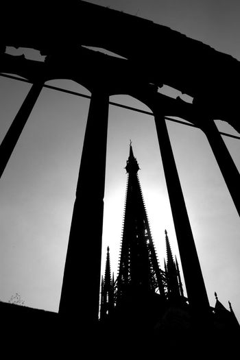 Spire of Rouen Cathedral, Normandy, France Architecture Built Structure Silhouette Low Angle View No People Sky Building Exterior Travel Destinations Travel Tourism Outdoors Tower Tall - High Clear Sky History Religion Day The Past Place Of Worship Spire  Rouen Cathedral France