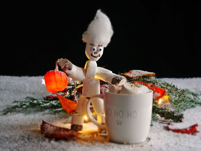 ArtWork Black Background Close-up Cup Day Food Food And Drink Freshness Gooseberry Halloween Human Representation Illuminated Indoors  Marshmellow Man Marshmellows  No People Physalis Fruit Snow Studio Photography