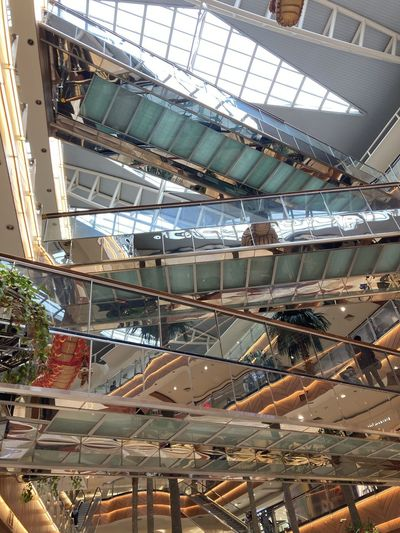 Low angle view of ceiling in shopping mall