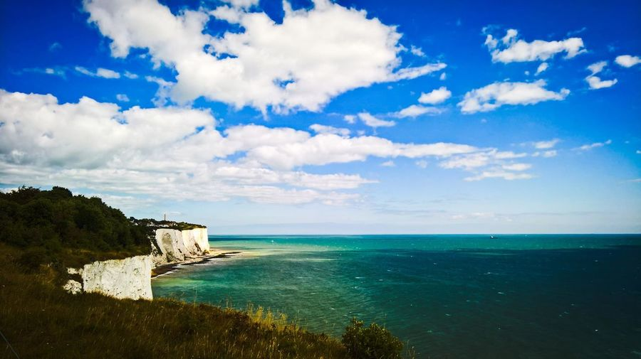 Dover Dover, England St. Margaret's Bay Beach Beauty In Nature Blue Cloud - Sky Day Horizon Horizon Over Water Idyllic Land Nature No People Non-urban Scene Outdoors Scenics - Nature Sea Sky Tranquil Scene Tranquility Turquoise Colored Water White Cliffs  White Cliffs Of Dover
