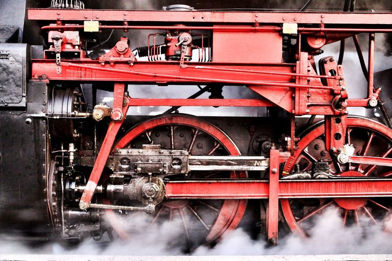 Antrieb BR 52 Close-up Dampflok Day Industry Locomotive Machine Part Machinery Mode Of Transport No People Outdoors Part Of Pipe - Tube Red Stationary Steam Engine Steam Locomotive Train - Vehicle Transportation