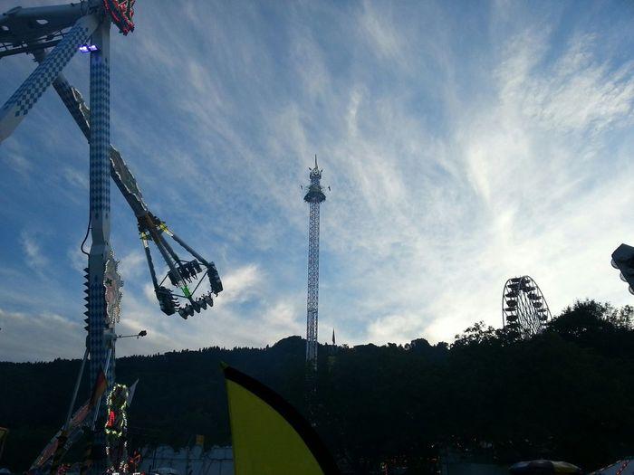 KirmesZürich Knabenschiessen Fairground Blue And Black Schwindelfrei Sky And Structures Light And ShadowAbendstimmung Silhouettes