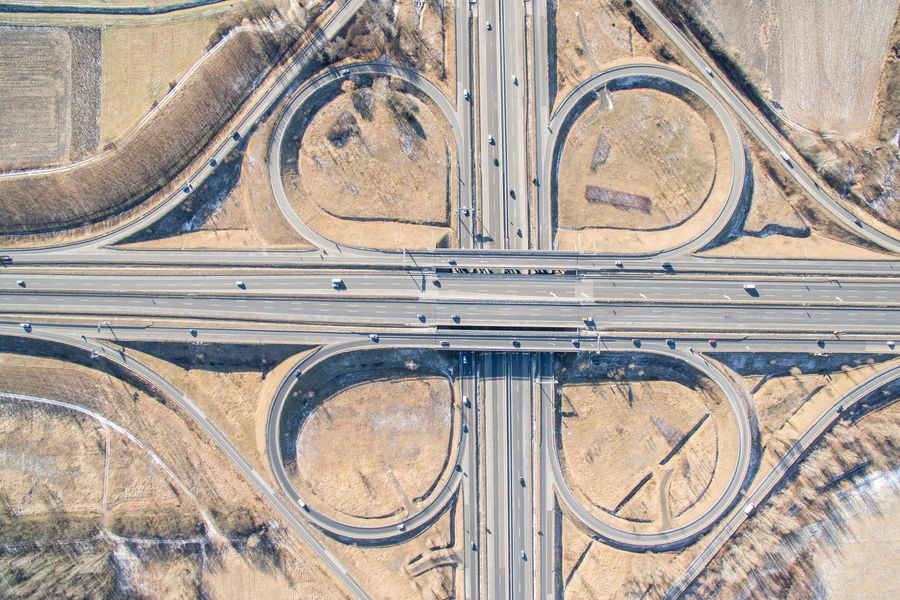 Above Crossroads Day High Angle View Highway Junction Motorway Outdoors Top Perspective Top View
