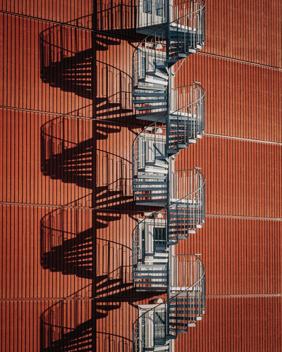 Staircase Fire Escape Architecture Steps And Staircases Railing Pattern Safety No People Built Structure Metal Emergency Exit Building Exterior In A Row Day Repetition Shadow Spiral Security Backgrounds Accidents And Disasters