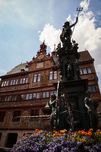 Market Place of Tübingen Architecture Art And Craft Building Exterior Built Structure City Cloud - Sky Creativity Day History Human Representation Low Angle View Male Likeness Nature No People Representation Sculpture Sky Statue The Past