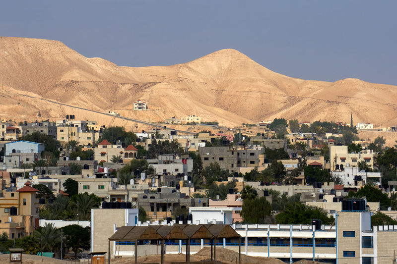 High Angle View Of Jericho City Against Mountains