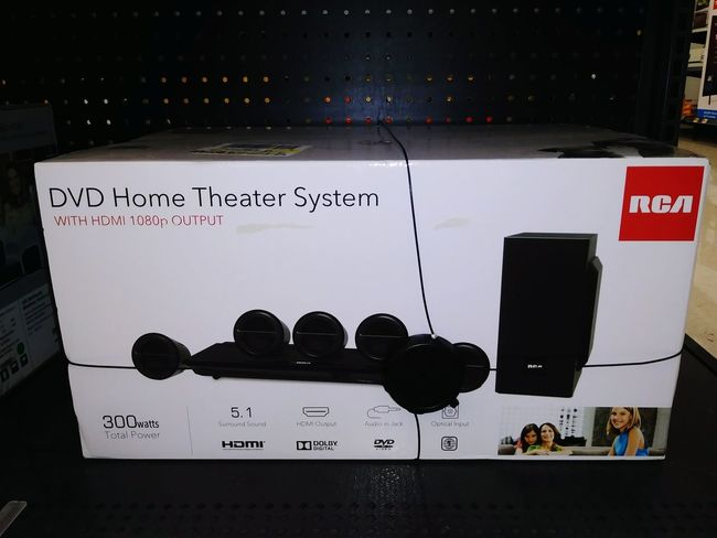 RCA Surround Sound with Blackweb Bluetooth transformer RCA Surround Sound Stereo Home Audio Soundsystem Text Close-up